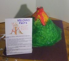 This is a fast and easy volcano to make because it uses posterboard rather than plaster of paris or paper mache. If you just want a nice looking volcano project without all the mess and hassle of gooping with plaster then this project is perfect for you. It is much easier to make and you can have it built in half an hour and it will be ready for the fun of painting and erupting.