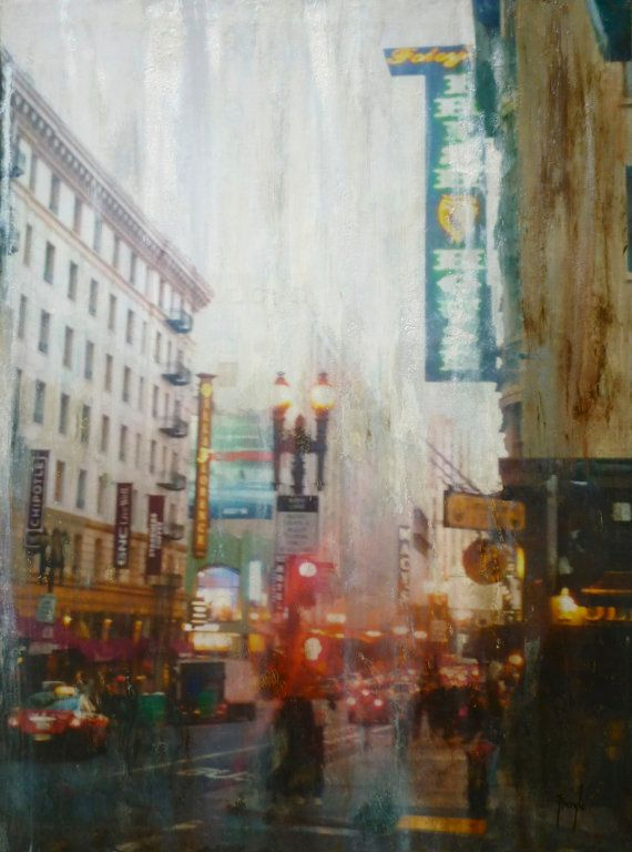 'In the Rain' - Original painting, mixed media & collage, abstract art, Streetscapes of San Francisco series | $1500