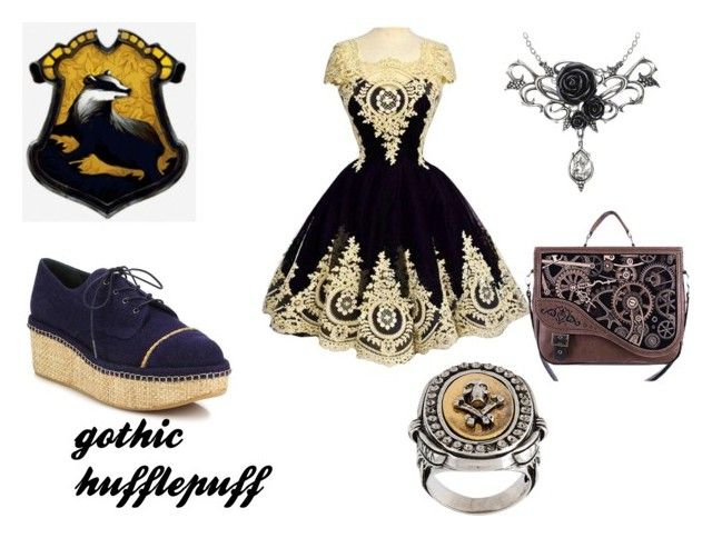 """""""gothic hufflepuff"""" by marauderslife on Polyvore featuring Stuart Weitzman and Alexander McQueen"""