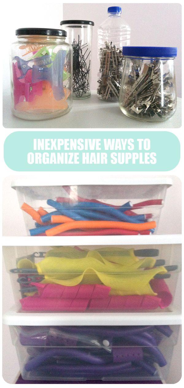 inexpensive ways to organize hair supplies