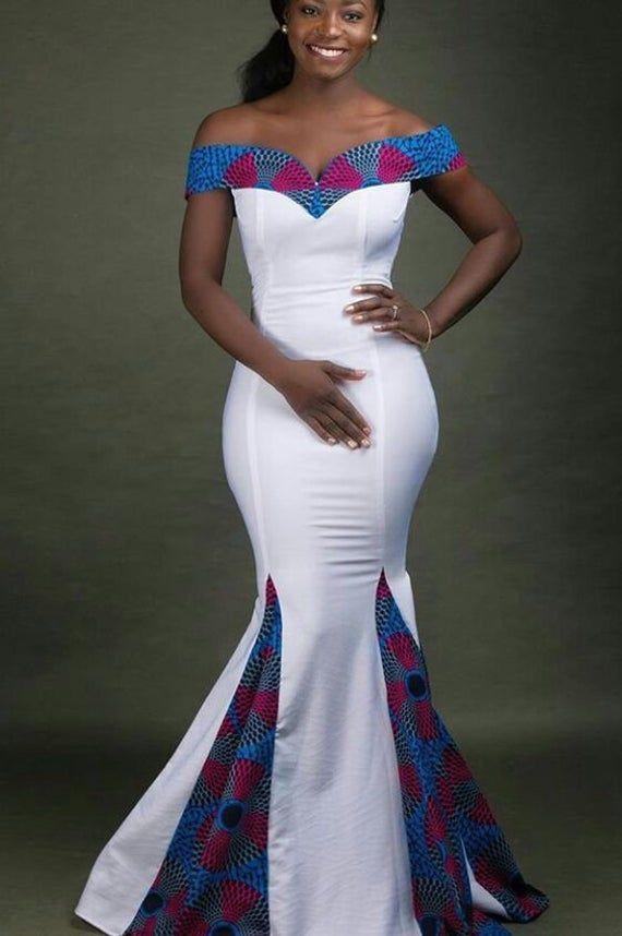 Off Shoulder Godet Ankara Dress