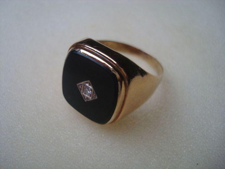 Klassischer Herrenring Ring Siegelring Gold 585 Onyx und Diamant Art Nachlass