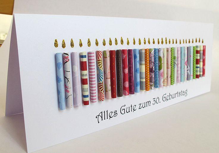 Glückwunschkarten - Riesige Geburtstagskarte, 30. Geburtstag, Kerzen - ein Designerstück von berlin-art-and-design bei DaWanda