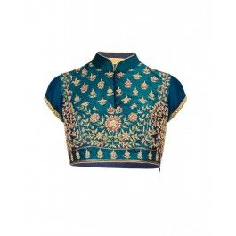 Teal Blue Blouse with Zari Embroidery
