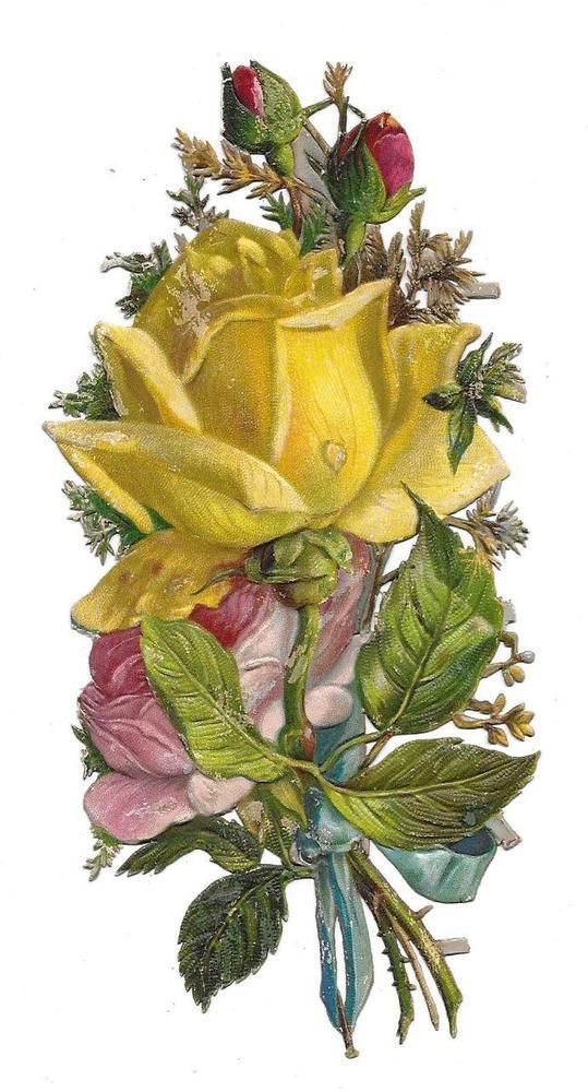 Victorian Die Cut Scrap Embossed Yellow Rose 1880s: