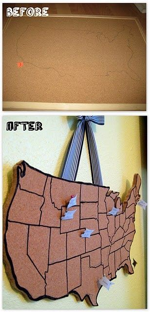 USA shaped cork board...thinking about doing this and having students mark each state they've been to.