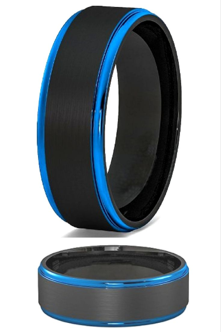 andy rings vitalium wedding band 8mm Blue Black Mens Tungsten Wedding Band With Step Down Edges