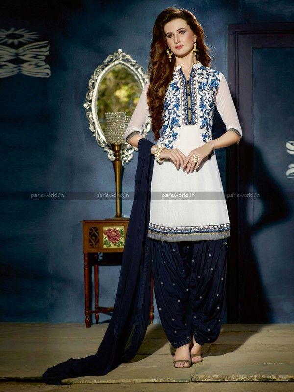 White Georgette Elegant Patiala Salwar kameez