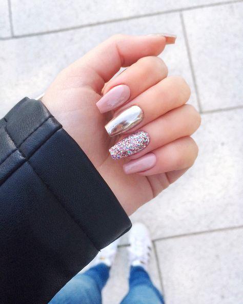 Pink chrome glitter nails