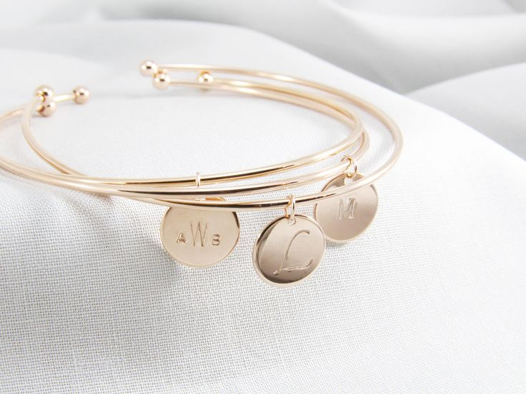 Excited to share the latest addition to my #etsy shop: Personalized Initial Bangle bracelet   Cuff Bracelet   Initial bracelet   Coin disc Bangle   Personalized bracelet for her   Bridesmaid Gift http://etsy.me/2EjozBN #jewelry #bracelet #bangle #gold #personalized #bridesmaid