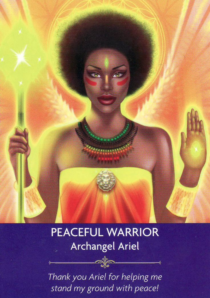 Peaceful Warrior (Archangel Ariel), from the Angel Prayers Oracle Cards by Kyle Gray & Jason Mccreadie. Published by Hay House. https://lifeofhimm.wordpress.com/2016/07/10/oracle-outlook-angel-card-reading-for-july-11-17-2016/