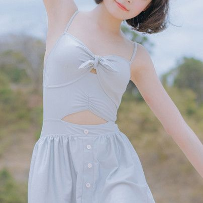 Grey Front Bow Ribbon Dress Swim Suit Swimsuit