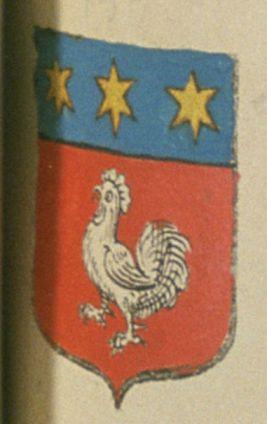 César DE GALLIÉE, sieur de Villevieille. Porte : de gueules, à un coq d'argent ; et un chef cousu d'azur, chargé de trois étoiles à six rais d'or | N° 134