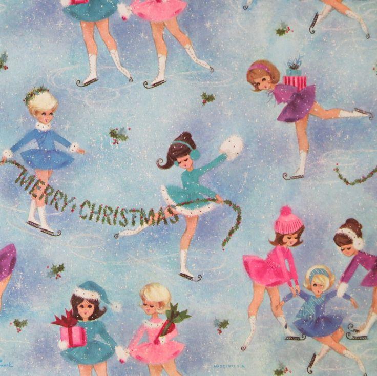 Vintage Hallmark CHRISTMAS Gift Wrap Wrapping Paper
