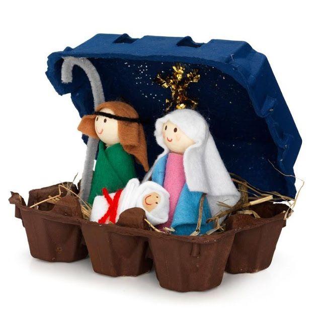 Presépio de natal na caixa de ovos Bożonarodzeniowa szopka w kartonie jaj