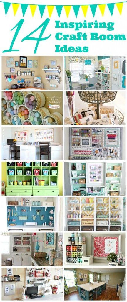 14 Inspiring Craft Room Ideas - Addicted 2 DIYLove these amazing craft room ideas! #craftroom #organizing