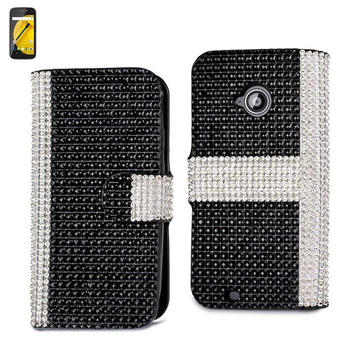 Reiko Diamond Flip Case For Motorola Moto E Lte (2Nd Generation) Moto E (2015)-Xt1527-Xt1511-Xt1505-Xt1524 Black