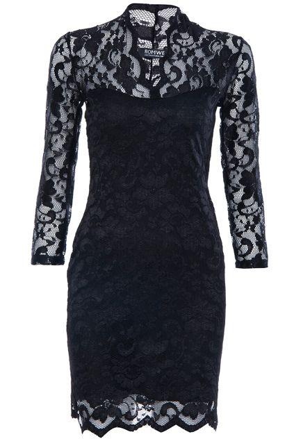 ROMWE | Lace Crochet Skinny Black Dress, The Latest Street Fashion  #RomwePartyDress