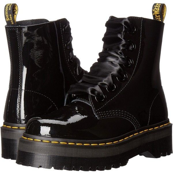 Dr. Martens Molly Lolita Boot (Black Patent Lamper) Women's Lace-up... (£120) ❤ liked on Polyvore featuring shoes, boots, ankle boots, dr martens boots, platform ankle boots, black lace up boots and short boots