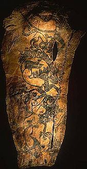 A tattoo on the right arm of a Scythian chieftain whose mummy was discovered at Pazyryk, Russia. tattoo was made more than 2,500 years ago.