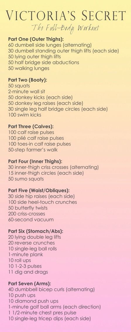 Victoria's Secret Model full-body workout! You could easily split this into seven workouts; one for each day of the week. You could also half the amount of times you do things, and how long you do things for if you want a quicker (and less painful!) workout.
