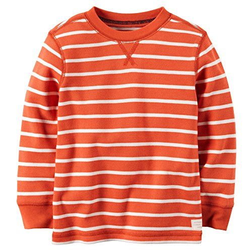 Camp Clothing - Carters Little Boys Striped Thermal Shirt 5 Orange -- Click image for more details.