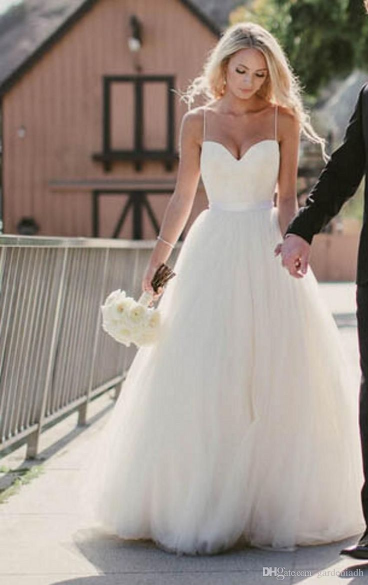 Best 25 wedding dresses with straps ideas on pinterest simple beach wedding dresses 2015 new sweetheart with lace corset bodice spaghetti straps tulle bridal gowns discount sale princess country bridal junglespirit