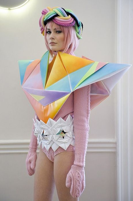 Geometric structures, sculptural three-dimensional fashion; cool & quirky fashion design // Fred Butler