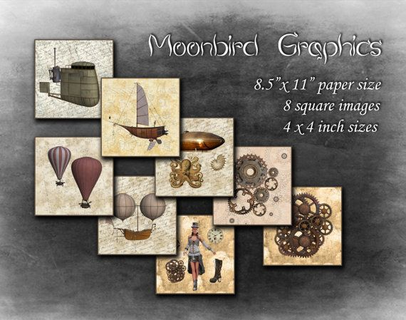 STEAMPUNK 8 Square Art Images Digital Collage by MoonbirdGraphics