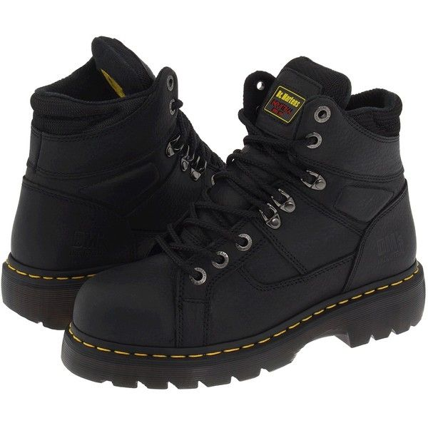 Dr. Martens Work Ironbridge ST (Black) Work Boots (401.700 COP) ❤ liked on Polyvore featuring shoes, boots, ankle boots, steel toe work boots, black lace-up boots, bootie boots, slip resistant work boots and black boots