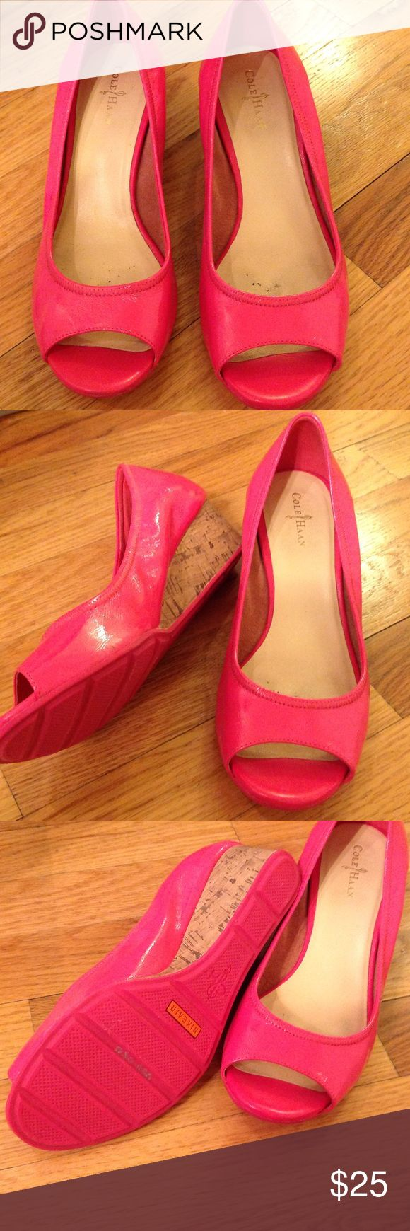 Almost new Cole Haan Nike Air pink wedges so 8 Patent leather hot pink wedges with cork. Barely worn. Cole Haan Shoes Wedges
