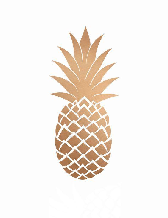 Fond d'écran ananas doré sur fond blan iphone:
