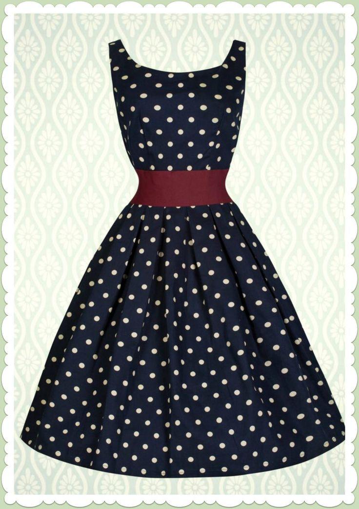 ... Bop 50er Jahre Rockabilly Petticoat Punkte Kleid - Lana - Navy Blau