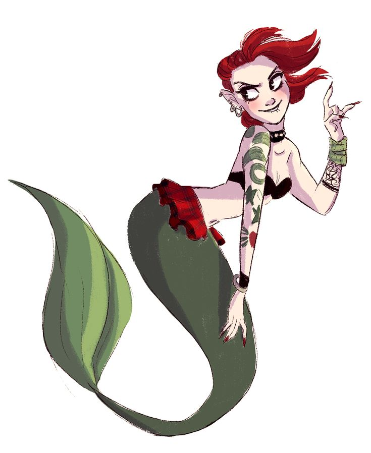 Punk rock mermaid for Jez over on Twitter! How could I resist drawing a merm? MERMS ARE MY LIFE.