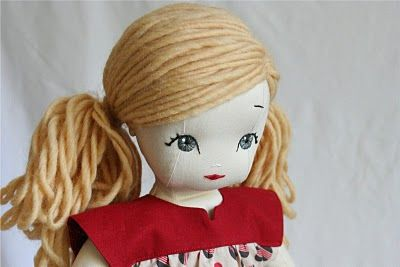 Doll Hair Tutorial (Ponytails) | This is amazing. The hair is sewn in. The dolls this woman makes are beautiful.
