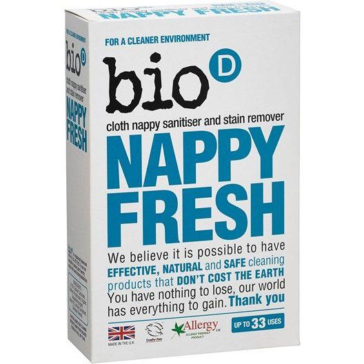 Ett doftfritt antibakteriellt fläckborttagningspulver för effektiv rengöring av återanvändningsbara tygblöjor.