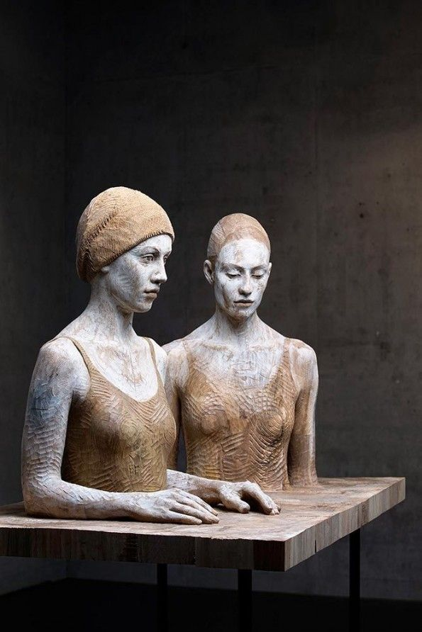 Bruno Walpoth ~ Sisters - Wooden Human Sculptures