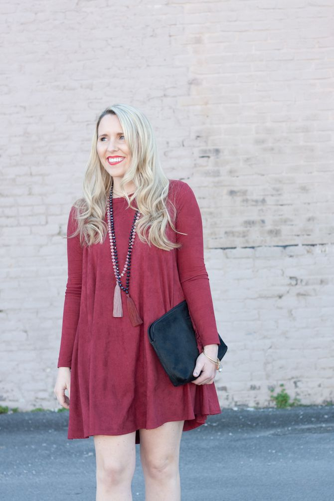 Berry Suede Swing Dress | Christmas Dinner Outfit Idea