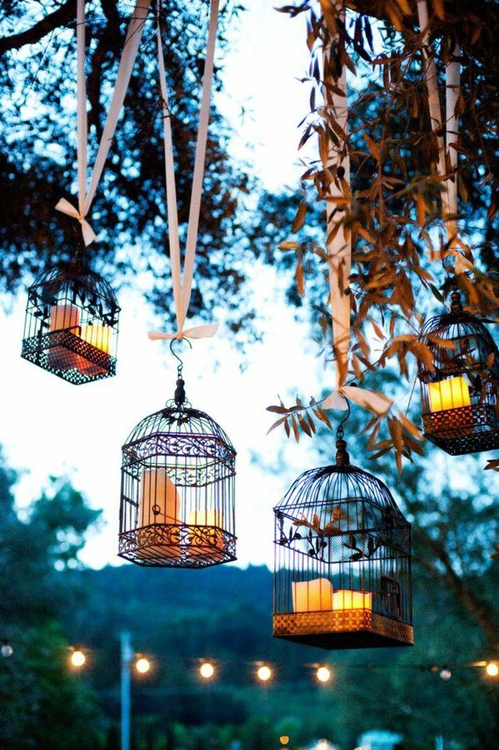 cage à oiseaux décorative, décoration extérieure romantique