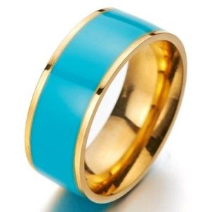 Lovely Colorful Statement Band Ring Stainless Steel with Turquoise Enamel Fashion Jewelry 8mm This is a beautiful ring. Expertly crafted in top grade stainless steel. Features a gold plated band with a touch of turquoise enamel. Radiant with a bright polished shine.  http://awsomegadgetsandtoysforgirlsandboys.com/easter-basket-girlfriend/ Lovely Colorful Statement Band Ring Stainless Steel with Turquoise Enamel Fashion Jewelry 8mm