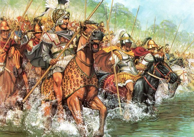 Alexander and the Macedonian Companion Cavalry cross the River Granicus to confront  Persian cavalry