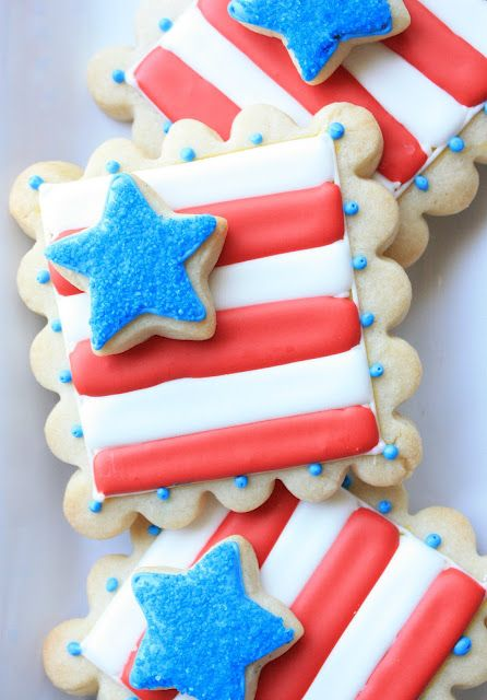 Double-Decker Flag Cookies  by @Munchkin Munchies....great for a 4th party!