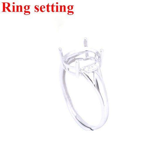 Sterling Silver CZ Adjustable Mount Ring 925 Oval Prong Setting Blank 5-11 mm 316-716 Base Cabochon Gemstone Stone Boho Jewelry Bulk
