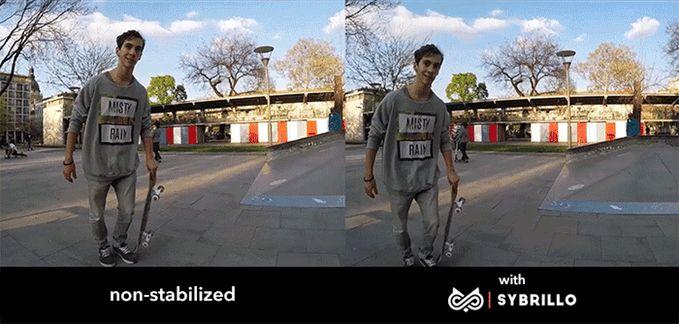 手持 GoPro 拍攝和用 Sybrillo 拍攝效果對比。