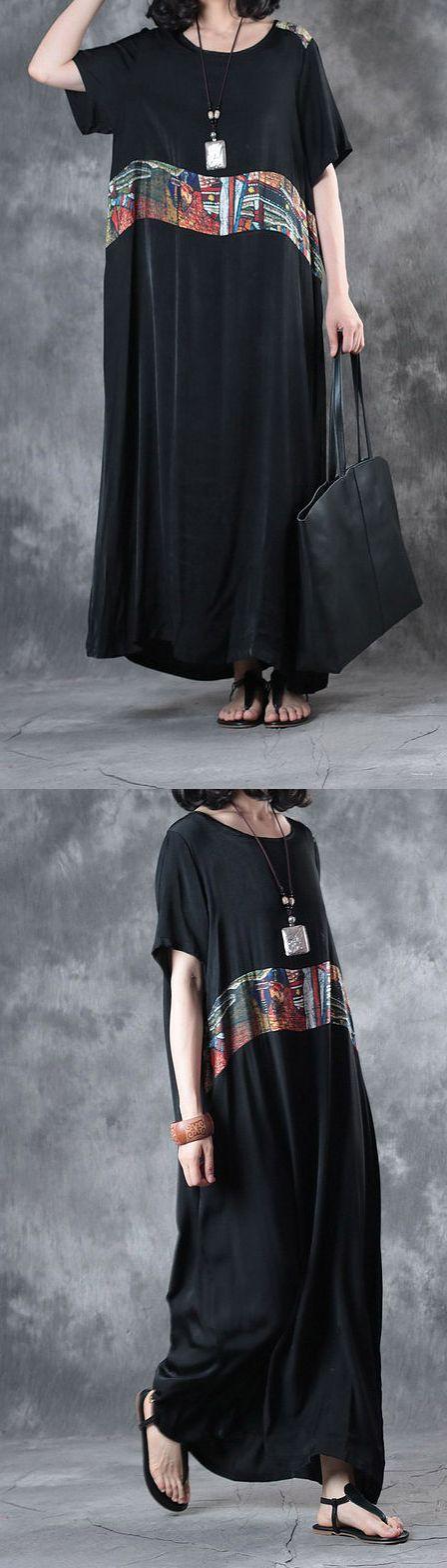 black baggy summer silk sundress plus size casual dresses short sleeve maxi dress