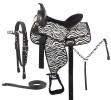 Zebra Print Western Horse Synthetic Saddle Tack 14-16