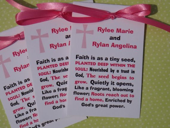 Girl's Baptism Christening Religious First Holy Communion Flower Seed Packet Favors