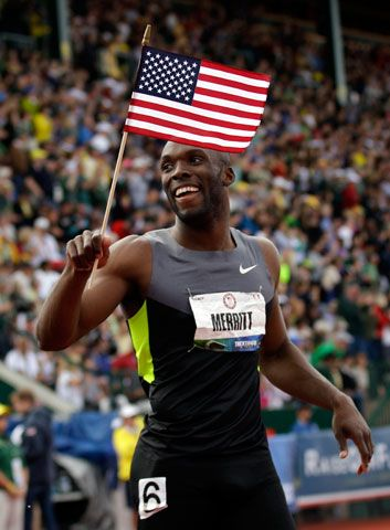 LaShawn Merritt reacts after the men\'s 400m finals at the U.S. Olympic Track and Field Trials Sunday, June 24, 2012, in Eugene, Ore.