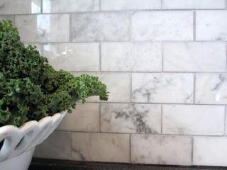 Marble subway tile backsplash