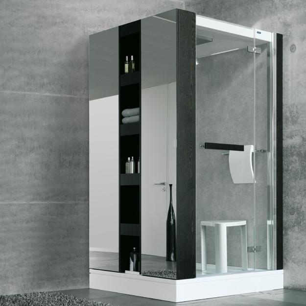 """Lebensqualität en bloc    Ein Dampfbad entspannt bekanntlich die Sinne – jetzt auch den Sehsinn. Cube ist optisch eher der Rubrik """"Mobiliar"""" zuzuordnen als dem Thema """"sanitäre Einrichtung"""". Dieses Badobjekt bewegt sich in puncto architektonischem Anspruch auf dem Niveau internationaler SPA- und Wellnessanlagen – und brilliert mit diesen Vorzügen in den eignen vier Wänden.    Das Schrankelement bietet viel zusätzlichen Stauraum. Die Markenarmaturen prägen die gelungene Innenausstattung."""
